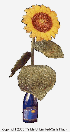 Beaded Flowers - Large Sunflower in Bottle